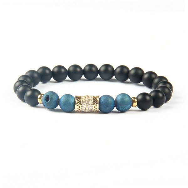 Powerful Space Jewelry Wholesale 8mm Matte Agate & Blue Purple Scrubs Openings Laugh Stone Clear Cz Gold And Silver Cylinder Tube Bracelet