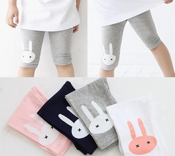 Top Fashion 2-7years 4 color Rabbit Footless Girls Knee Length Kid Five Pants Cropped Clothing kids leggings