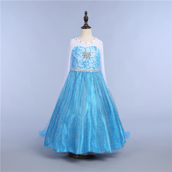 Girls Snow Queen Princess Dress-up Cosplay Costume Make-up Party Princess Rapunzel Lace Dress 10 Style DHL Ship PX-D05
