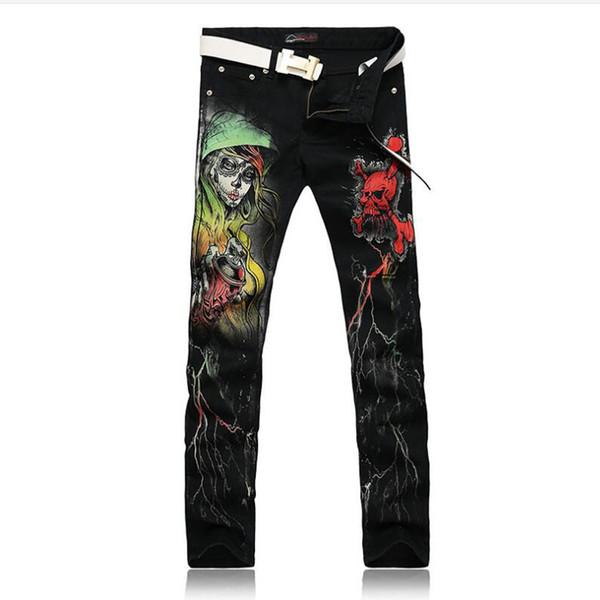 Cool Skinny Jeans For Guys Punk Style Skull 3D Printed Club Wear Hip Hop Black Mens Rock Singers Jeans