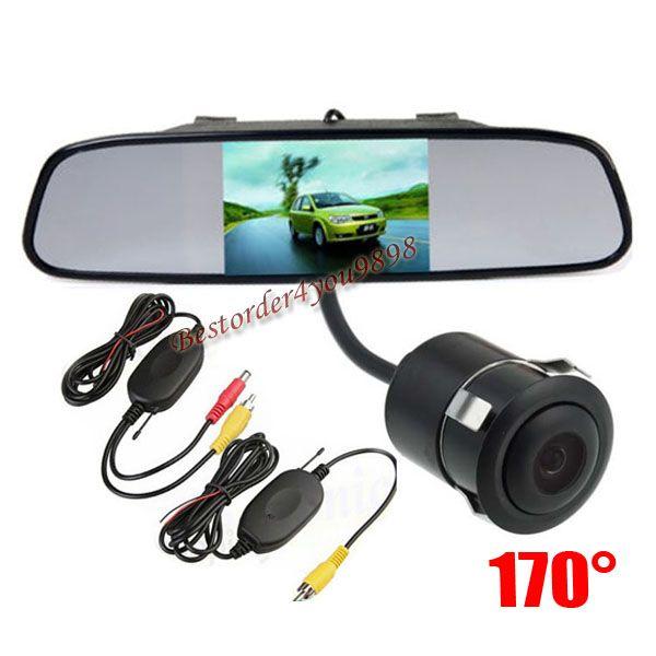 "Wireless Mini Reversing Camera 170°Waterproof + 4.3"" LCD Mirror Monitor Car Rear View Kit Free Shipping"
