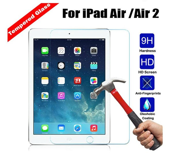 10pcs/lot Ultra Thin 0.3mm Anti-shatter Real Tempered Glass For iPad mini 2 3 4 Air Air2 Pro 9.7 10 Tablet Film Screen Protector
