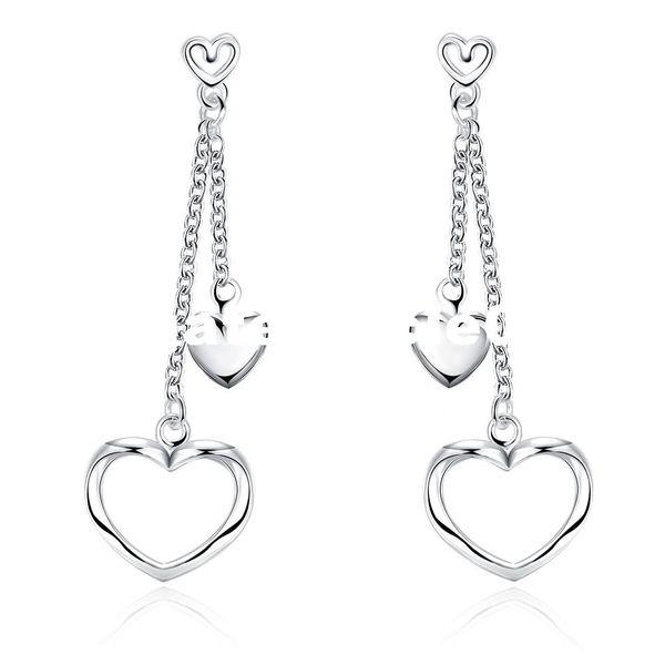 PATICO Valentines Jewelry 100% Genuine 925 Sterling Silver Double Layered Hear Woman Lady Tassel Stud Earrings Ear Accessory