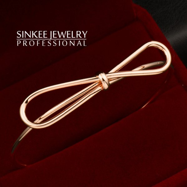 Wholesale- Hot New Fashion Wire Bow Bangles For Women Unique Design Bowknot Girl Party Cuff Bracelets Bangles Sl261