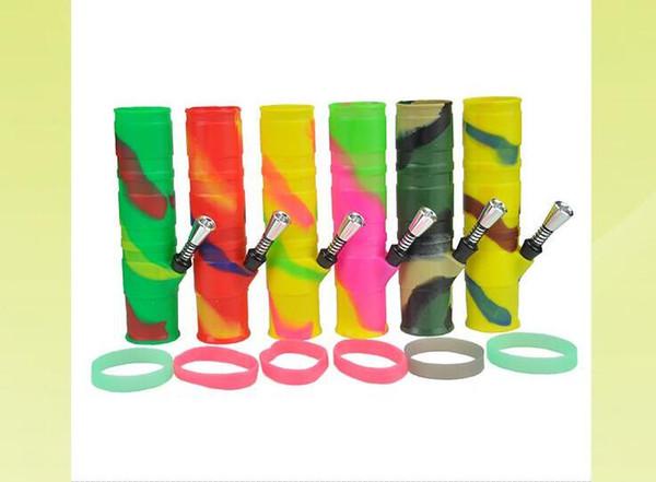 Pipa ad acqua in silicone per narghilé portatile Macinatori a secco Erba infrangibile Percolatore Bong Fumatori di petrolio e concentrato Tubi di plastica in metallo