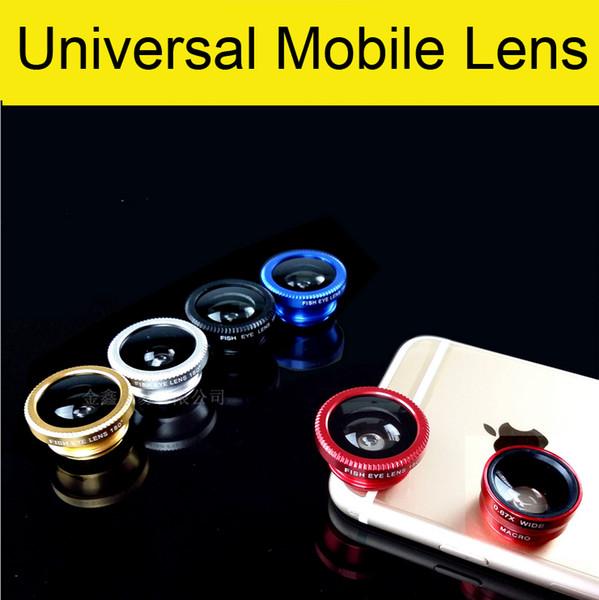 3 in 1 universale della macchina fotografica della clip del telefono mobile Fish Eye + Macro + grandangolare per iPhone 7 di Samsung Galaxy S7 HTC Huawei tutti i telefoni fisheye