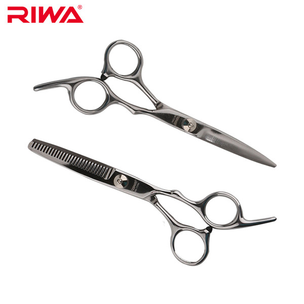 Wholesale- RIWA Hair Scissors Professional Barber Set 2PCS Thinning + Cutting Scissors For Hairdressing Scissor