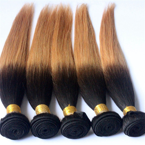 T1b 27 Ombre Brazilian Peruvian Indian Malaysian Virgin Human Hair Bundles Weaves Two Tone Dark Root Honey Blonde Double Weft Extensions