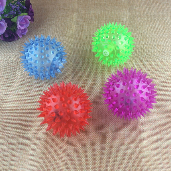 6.5cm massage ball colorful flash light hedgehog called squeezed with whistle toys selling goods wholesale stalls