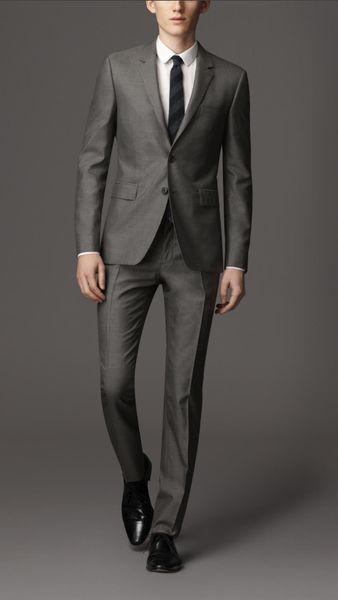 modern slim fit suit for men tuxedo gray custom made suit wedding for 2017 dress man
