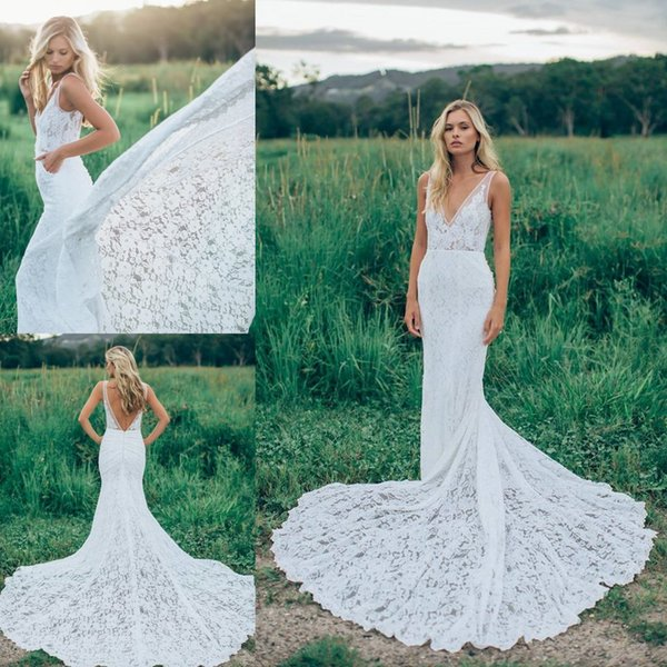 Modest 2017 Mermaid Lace Wedding Dresses Backless Aooliqued Plunging ...