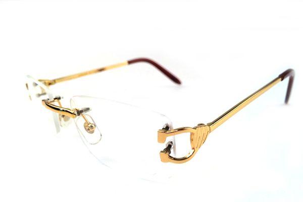 Brand Classic Luxury eyeglasses rimless full frame half semi silver gold metal buffalo horn glasses spot sunglasses legs brown eyewear