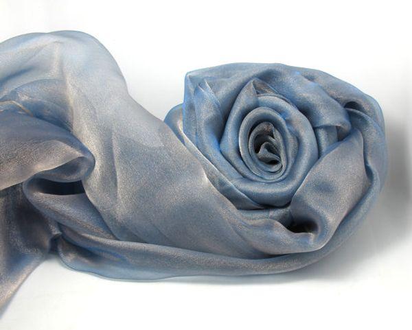 1pcs(100*140)cm Silver/ Blue Organza Fabric Shiny Sparkle Decorative Fabric Event Home Decor