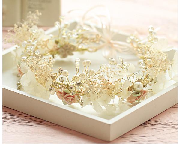 Großhandel Rosebridalpark Gold Blume Kristall Perle Stirnbänder Hochzeit Haarschmuck Brautschmuck Vintage Kopfschmuck Kopfstücke Cxb581 Von Ck05