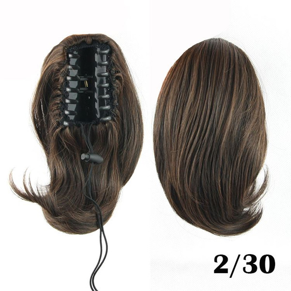no lace Daily wigs Cosplay Hair Peruca Pelucas 1PC 70g 25cm Synthetic Hair Claw Clip Ponytail Hair Pieces Curly Black Brown Ponytail Short P