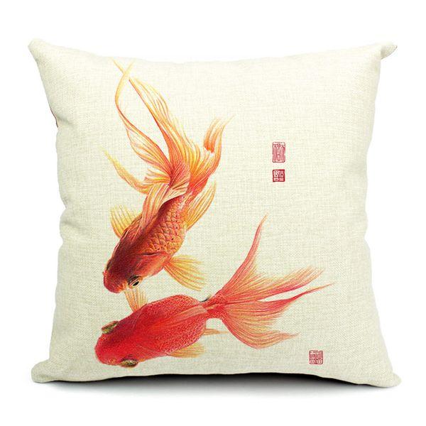 1 Stücke Baumwolle Leinen Platz Design Dekokissen Fall Dekorative Kissenbezug Kissenbezug Chinesischen Goldfisch Stil
