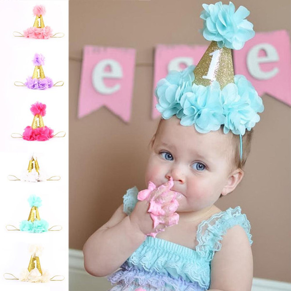 Fashion 1 year baby first Birthday Party Hats caps Digital Age one Cupcake Toppers kids birthday party decoration