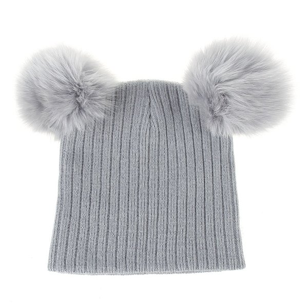 Newborn Kids Knitting Ear Caps Fashion Warm Cute Fox Ball Beanie Thick Wool Infant Baby Trendy Soft Hats Boys Girls