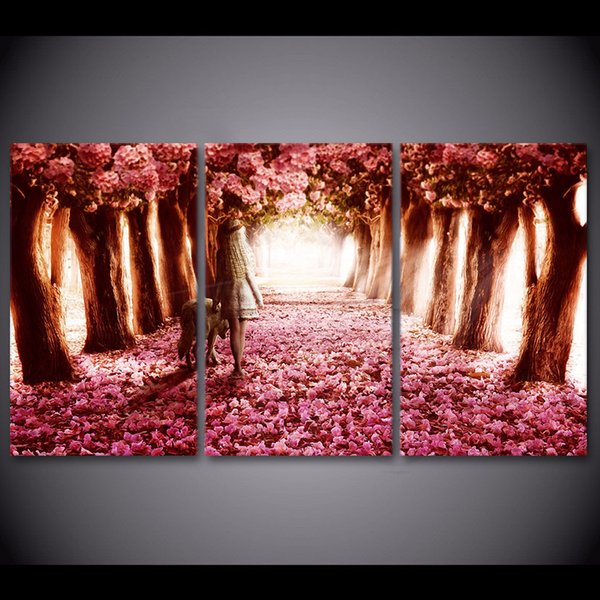3 Pcs/Set Cherry Blossoms Tree HD Printed Framed Canvas Picture Abstract Oil Painting Wall Decorations Living Room