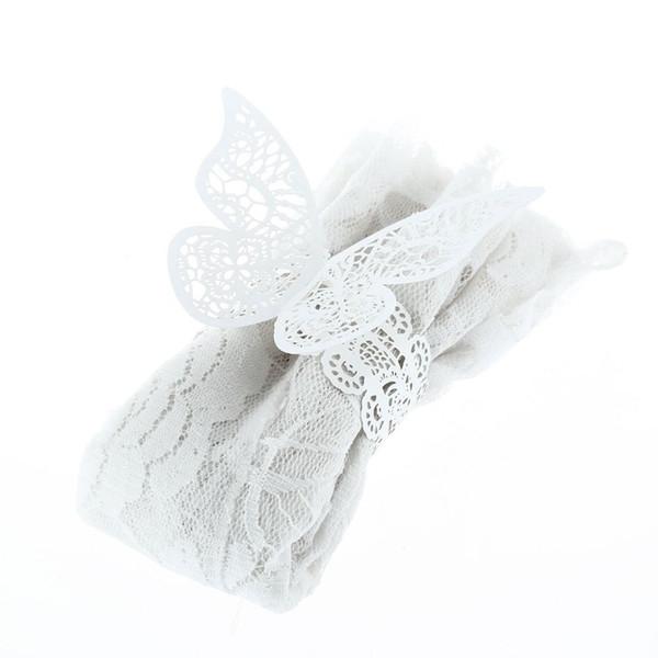 Wholesale- 12pcs Laser Cut Cystal Cream White Butterfly Napkin Rings Serviette Holder Wedding Banquet Dinner Party Decor Favor