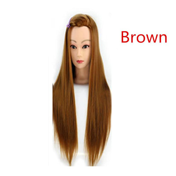 """22"""" 100% Synthetic Hair Hairdressing Cosmetology Mannequin Manikin Training Head Model With wig + Clamp Free Shipping"""