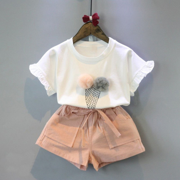 Toddler Summer Elegant Outfit Clothes Kids Baby Girl Ruffled Top Ice-cream Pattern White T-shirt+ Pink Pants Suit 2pcs 3-8T