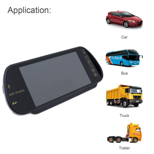 Brand New Super 7 Inch TFT LCD Color Screen Car Rear View Mirror Monitor Popular Parking Assistance Support SD / USB CMO_316