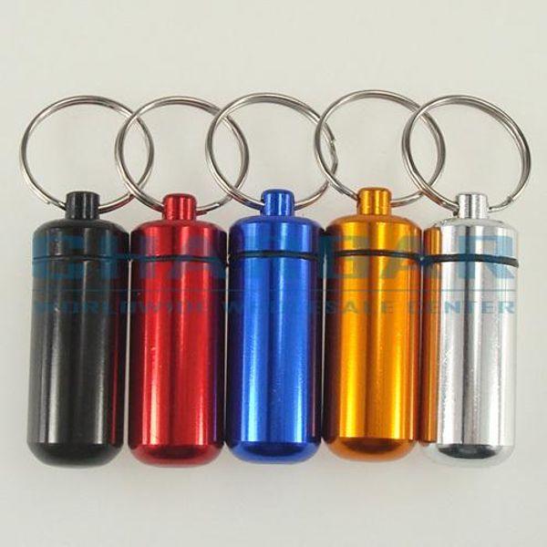 (20pcs,5 colors) Bigger 48x17mm Waterproof Aluminum Pill Cache Capsule box Cash Stash Container Key rings bottle keychain holder