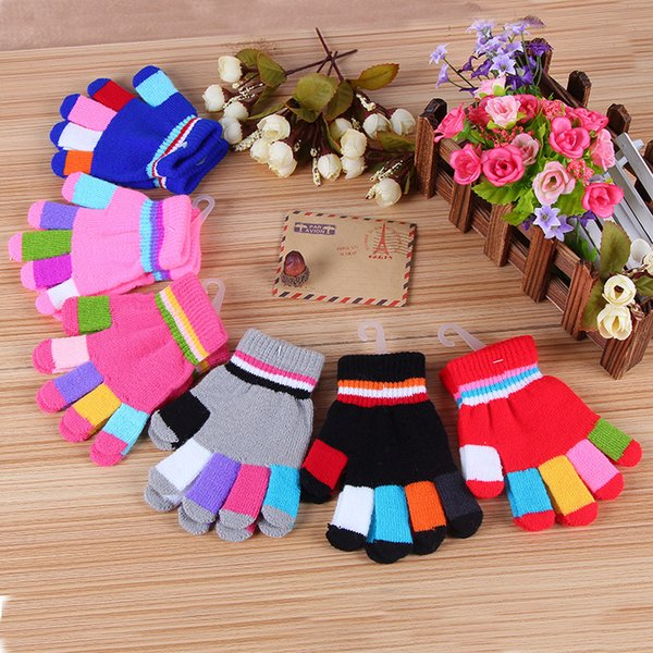 Knitting thickened color stripe boys and girls child gloves gloves winter warm gloves