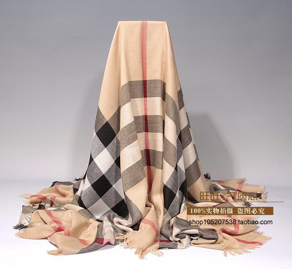 Factory Sell High Quality Luxury classic Wool cashmere Check scarf Silver thread Wrap shawl Letter printing Scarves 140*140cm