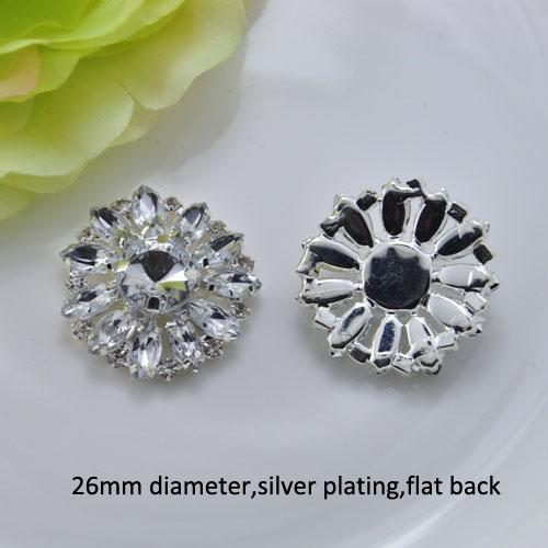 (J0342) 26mm rhinestone metal embellishment,clear crystals and acrylic beads,flat back,100pcs/lot