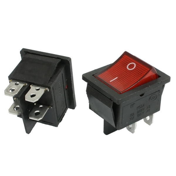 KCD4 Interruttore a bilanciere DPST 4 pin Interruttori on-off a 2 posizioni per barca Car Automotive AC 250V 16A / 125V 20A Rosso Verde Nero