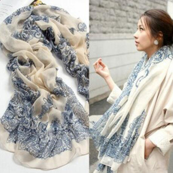 Wholesale- Fashion Women Scarf 170*80cm Ethnic Chinese Style Porcelain Style Soft Comfortable Thin Cotton Voile Scarves Shawl Accessories