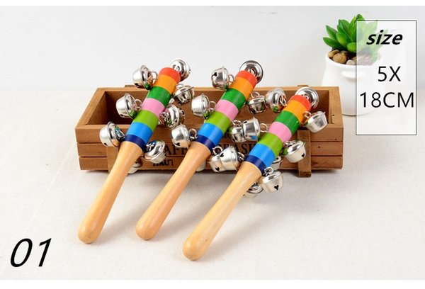 2017 new Cartoon sand hammer rattle rattle Wooden Stick Jingle Bells Rainbow Hand Shake Bell Rattles Baby Kids Children Educational Toy A1