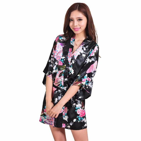 Wholesale- Hot Sale Black Female Silk Rayon Nightgown Sexy Mini Robe Dress Printed Flower Kimono Yukata Gown S M L XL XXL XXXL RB1023