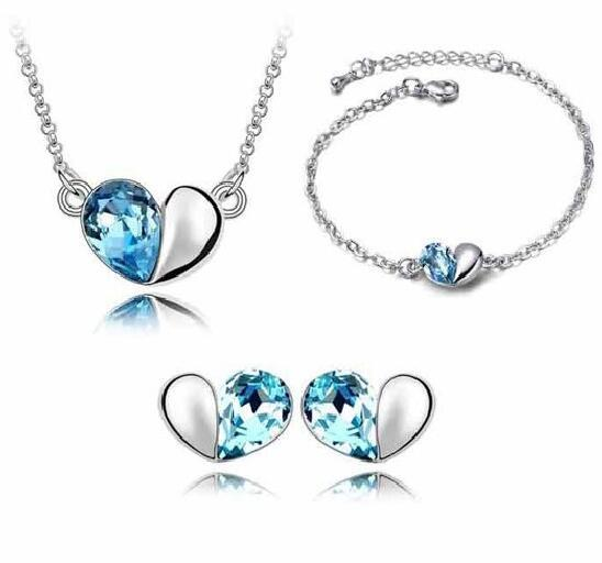 Wholesale Price 18K white Gold Plated Cute Love Heart Crystal Necklace Earrings Bracelet Jewelry Sets Wedding Jewelry Set 4pcs/set