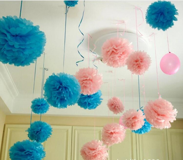 Paper Flower decorations Colorful Pom Poms Flower Kissing Balls Hanging Balloon for Wedding Party Decoration Supplies 50Pcs/lot