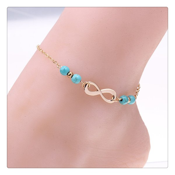 top popular Wholesale Beach Foot Jewelry Trendy Anklets Bells Chains Turquoise Beads Chain Foot Double Zipper Anklet Bracelet Wedding Accessories DHL 2019