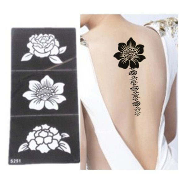 Wholesale-5pcs Tattoo Stencil Flower Tattoo Templates Hands/Feet Henna Tattoo Stencils For Airbrushing Professional New Body Painting