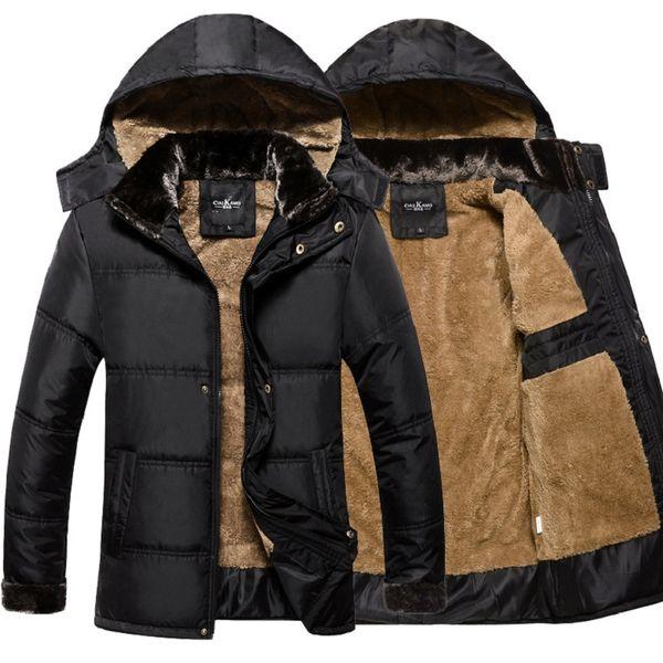 Wholesale- Thick Warm Winter Jacket Men Overc Jackets Detachable Hat High Collar Outerwearoat Fluff Lining Down Coats Parka Casual