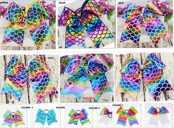 HOT SALE ~10colors a! 8inch girls Rainbow Foil Mermaid Cheer Bow Cheerleading Dance Hair Bow Hair accessories XMAS GIFT HOT SALE 24pcs/
