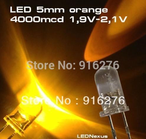 1K High Bright LED orange 5mm led diode bead light SUPER LIGHT 4000mcd, 1000pcs/Lot, Free shipping
