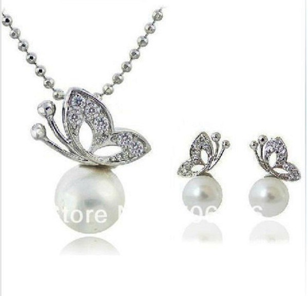 Rhodium Silver White Pearl and Clear Rhinestone Crystal Beautiful Butterfly Drop Pendant Necklace and Earrings Jewelry Sets