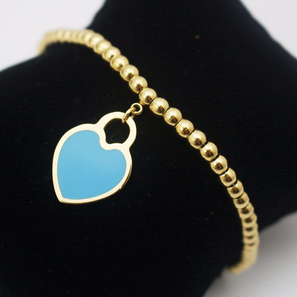Hot Summer Style Love Heart Blue Enamel Charm Bracelets & Bangles Gold Color Fashion Beads Wedding Jewelry for Women Gift