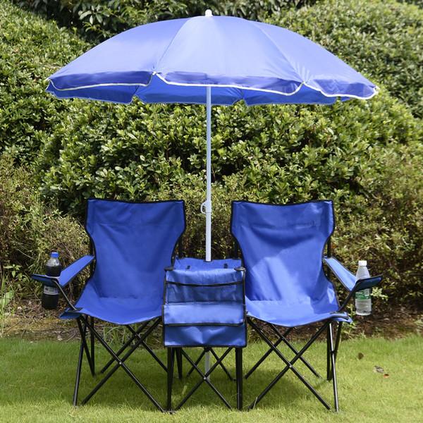 Портативный складной Пикник Двойной стул W / Зонтик стол Cooler Бич Кемпинг Стул