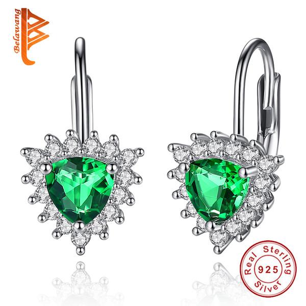 BELAWANG Wholesale 2 Colors 925 Sterling Silver Women Earrings Green Austria Crystal Heart Stud Earrings Valentines Gift Prevent Fall off