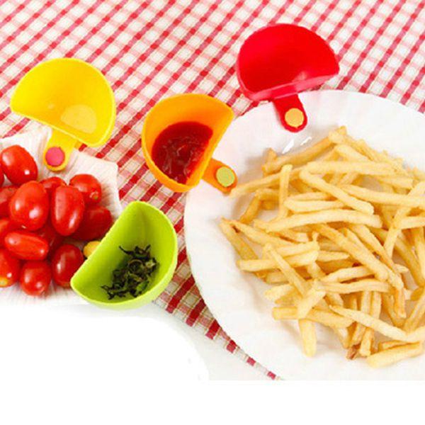 Dip Bowl para una variedad de ensaladas Salsa Salsa Ketchup Sabor Azúcar Especias Dip Clip Cup Bowl Platillo Accesorios de cocina gadgets