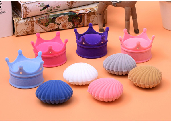 [Simple Seven] Cute Middle Sea Shell Ring Box Bracelet Display Jewelry Set Box Earring Stud Velvet Case Necklace Display Wedding