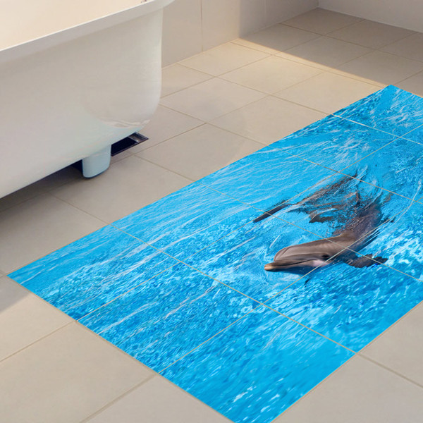 60x120cm Dolphin Under The Sea Removable 3D Self-Adhesive Mural Art Decals Twill Film Floor Sticker For Room Stair Nursery Decor