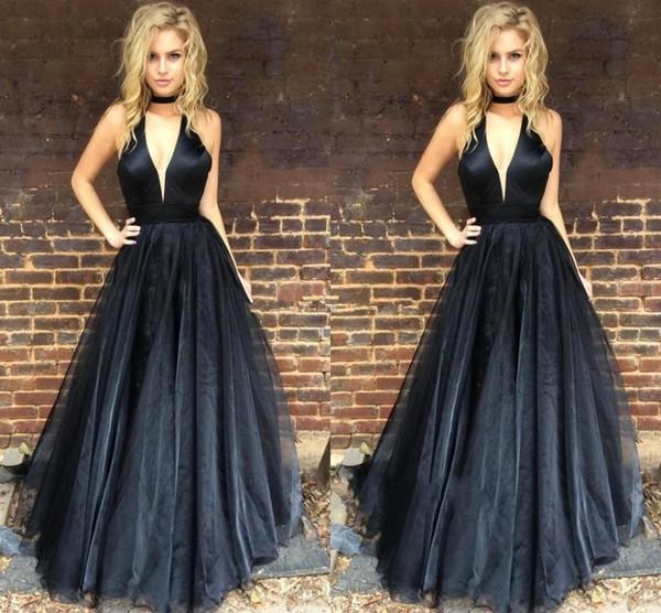 Compre Venta Caliente Increíble Halter Negro Organza Vestidos Largos De Fiesta Plisados Vestidos Largos De Fiesta Formales Vestidos De Fiesta Robe